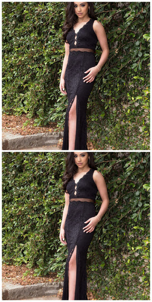 Sheath V-Neck Split Front Black Lace Long Prom Dress,5529