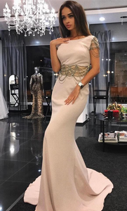 Elegant Sheer Waist Mermaid Formal Evening Dresses Scoop Neck With Beading Long robes de soiree Sweep Train Formal Gowns,5532