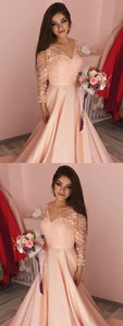 A-Line V-Neck 3/4 Sleeves Sweep Train Peach Satin Prom Dress with Appliques,5533