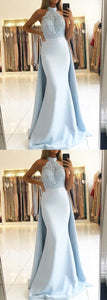 Elegant Lace Halter Mermaid Prom Dresses Detachable Skirt,5534