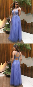 A-Line Open Back Sky Blue Tulle Prom Dress with Beading Appliques,5536