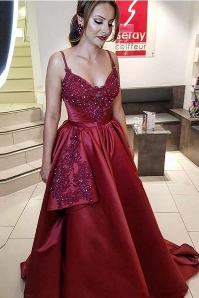Sexy dark red Burgundy A Line Long arabic Prom Dresses Spaghetti Strap Beaded and Sequined Evening Gown Ruffles Satin Party Dress,5571