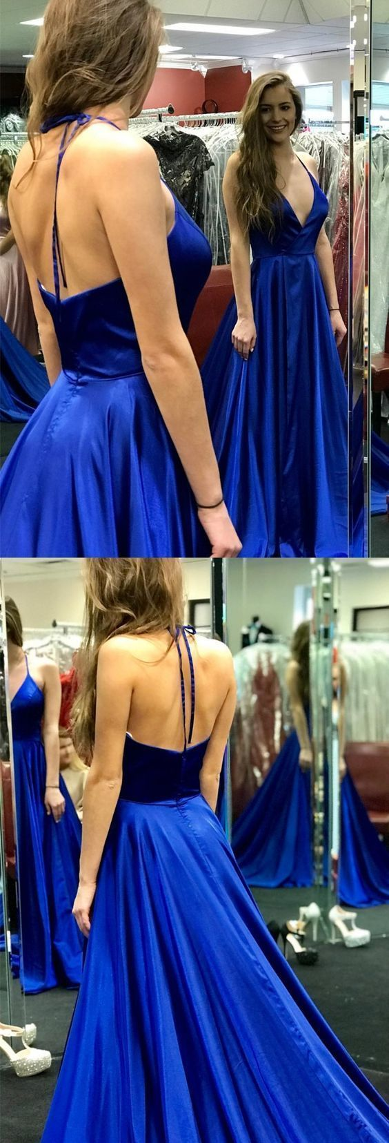sexy halter royal blue long prom dress with side slit, simple prom dress,5573