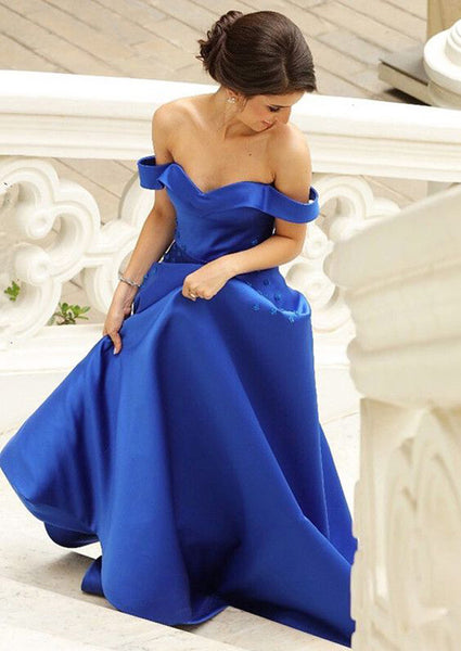 Royal Blue Off The Shoulder Prom Dress,2019 Long Satin Evening Gowns with Flowers,5582