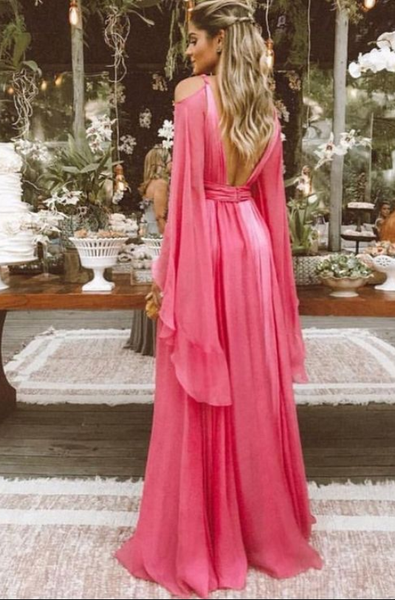 Sexy Deep V Collar Long-Sleeved Long Expansion Vacation Dress,Backless Evening Dress,Chiffon Prom Dress,5584