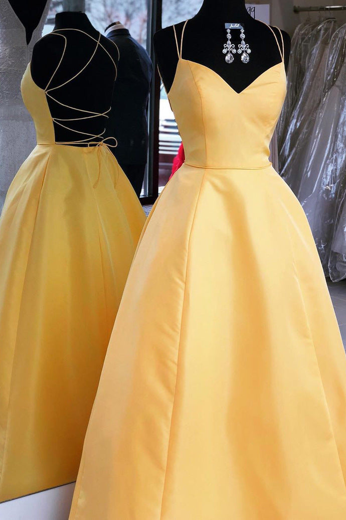 Sexy Backless Yellow A Line Prom Dress Long Evening Dress,5588