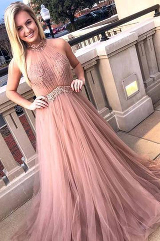 Elegant Halter Tulle Pink Prom Dress, Appliques Homecoming Dress, Long Evening Dress,5589