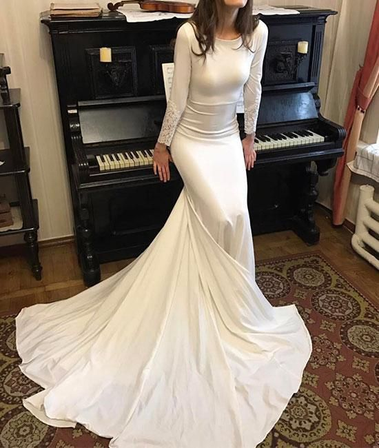 White Round Neck Satin Mermaid Long Prom Dresses White Evening Dress Party Gown,5594