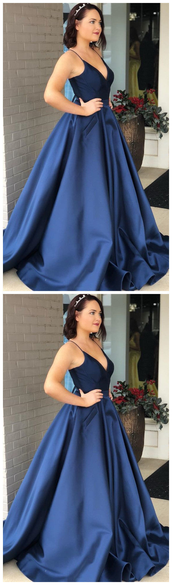 Gorgeous Straps navy blue Long Ball Gown,5597