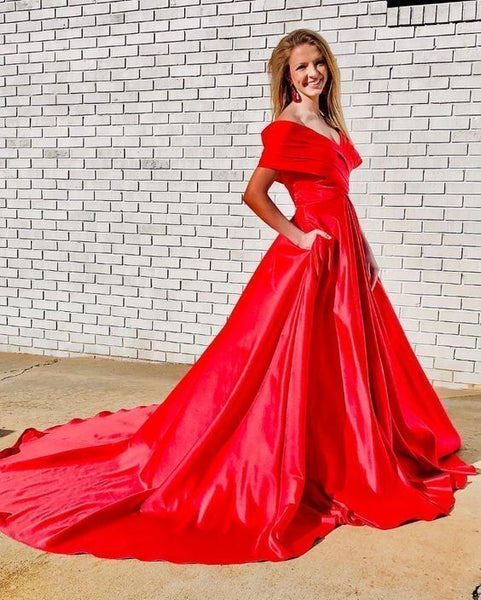 Gorgeous Off the Shoulder Red Long Ball Gown,5613