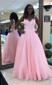 Ball Gown Prom Dress,Pink Prom Gown,Sexy V-back Party Dress,5615