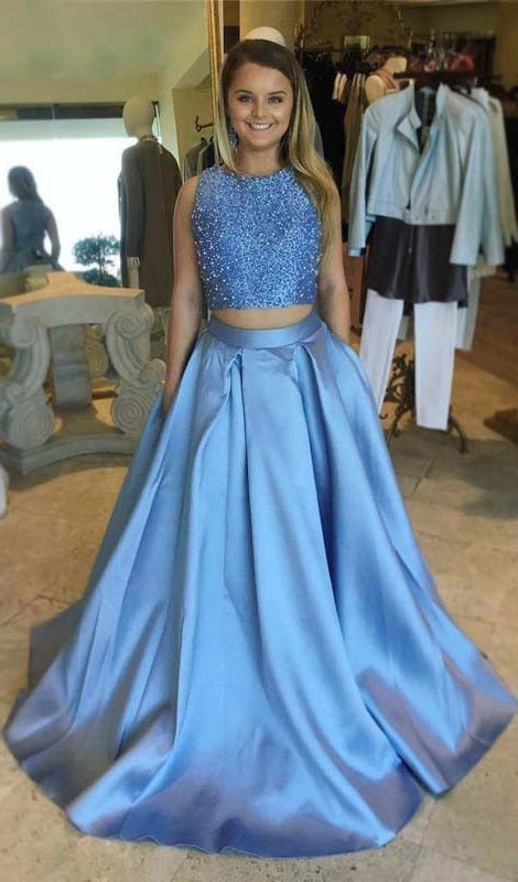Two Piece Round Neck Light Sky Blue Open Back Prom Dress with Beading Pockets,5619