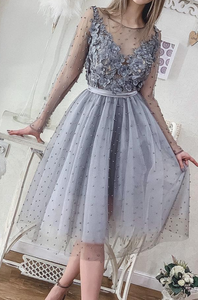 Short Silver Grey Pearls Homecoming Dresses Long Sleeve Lace Appliqued Beads Mini Cocktail Party Dresses Cheap Formal Prom Gowns,5624