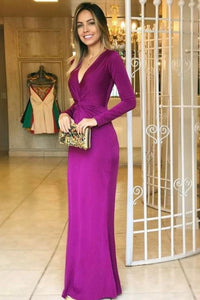 Mermaid Deep V-Neck Floor-Length Long Sleeves Grape Stretch Satin Prom Dress,5625