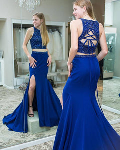 Gorgeous Two Piece Mermaid Royal Blue Formal Dress,5636