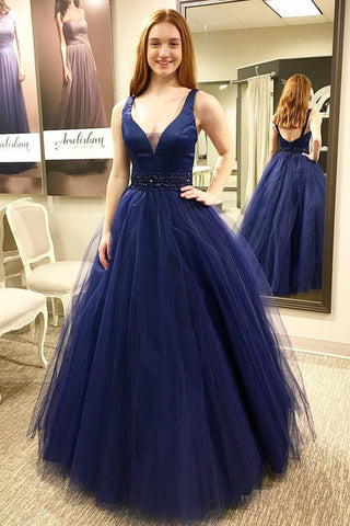 Plunging Neck Navy Blue Prom Dresses,5641