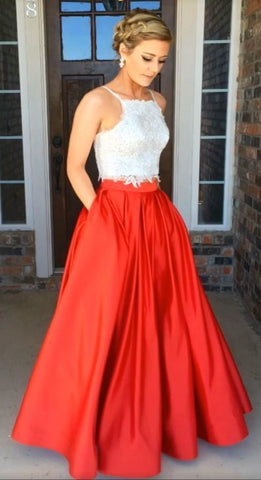 Charming Lace Satin Prom Dress, Long Prom Dress, Crop Top Prom Dress, Two Piece Prom Dresses,5644
