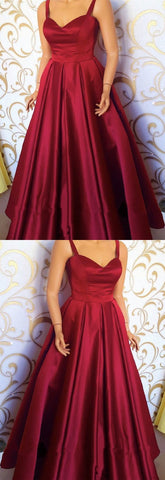 Burgundy Satin Sweetheart Floor Length Prom Dresses With Straps,5645