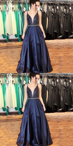 A-Line V-Neck Navy Blue Satin Beaded Long Prom Dress,5646