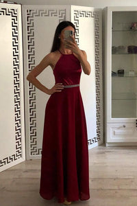 Fashion Burgundy A Line Halter Chiffon Simple Prom Dresses,5647