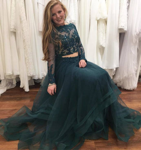 Charming Prom Dress, Long Sleeve Tulle Prom Dresses, Appliques Long Evening Dress, Party Dress,5650