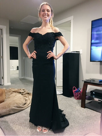 Elegant Mermaid Off the Shoulder Lace Prom Dress, Black Prom Dress, Gray Prom Dress, Formal Dress for Woman,5655