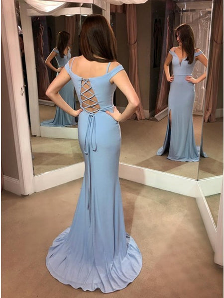 Light Blue Long Sheath Prom Dress with Slit.5656