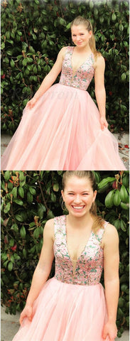 cute pink tulle prom dresses long,fashion v neck a line ball gown gradution party dress for teens,5658