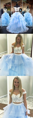 Off Shoulder White and Blue Two Piece Long Prom Dress,5660