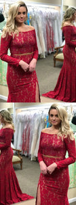 Gorgeous Two Piece Off-the-Shoulder Long Sleeves Red Prom Dress with Beading, Elegant Evening Dress with Split,5663