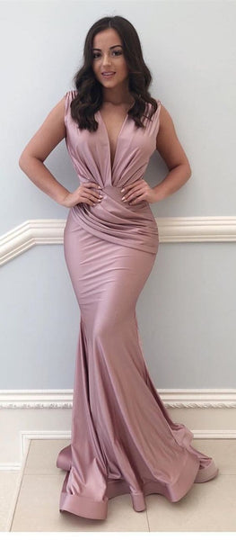 Simple Elegant Mermaid V-neck Floor-Length Prom Dress with Ruched.5665