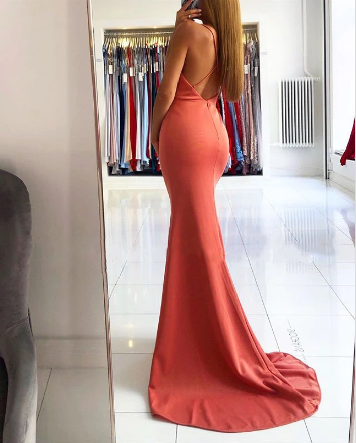Coral Charming Back Mermaid Prom Dress With Sexy Slit,5671
