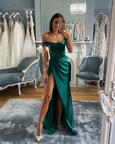 Sexy Leg Slit Emerald Green Evening Dress New,5673