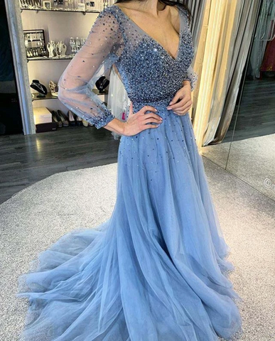 Sheer Sleeves A Line Blue Prom Dress,5674