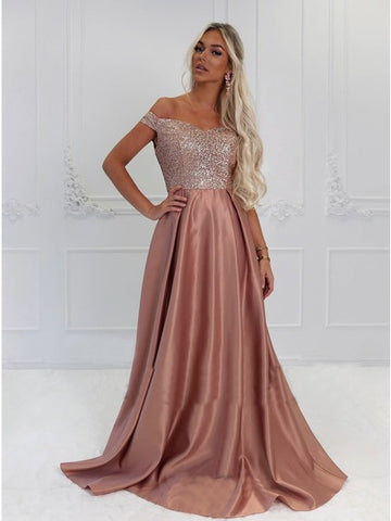 Elegant Off Shoulder Blush Sweep Train Prom Evening Dresses with Sequins,5679