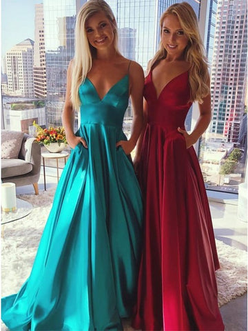 Elegant V-Neck Sleeveless Blue Prom Evening Dresses with Pockets,5680