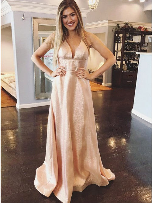 Stylish V-neck Pink Floor-Length Criss-Cross Prom Party Dress.5681