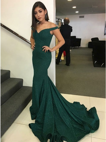 Mermaid Off-the-Shoulder Sweep Train Dark Green Prom Dress with Sequins,5683