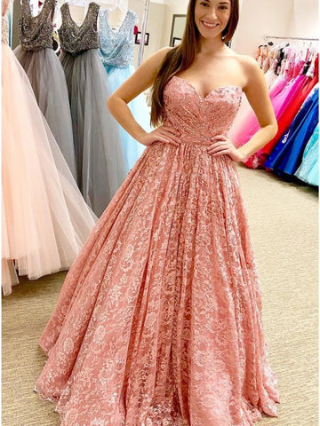 Fancy Sweetheart Blush Lace Floor-Length Prom Evening Dress Ruched,5685