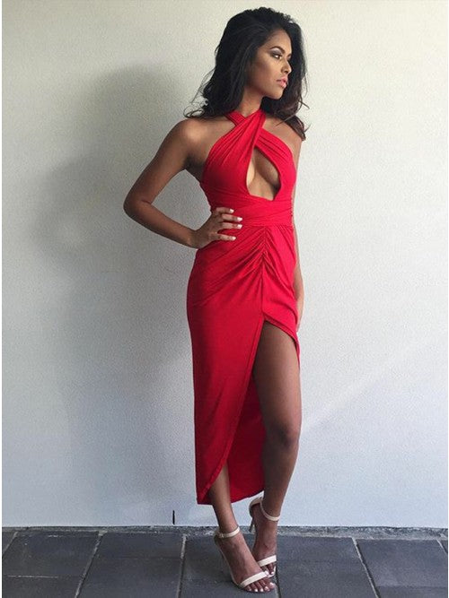 Sheath Cross Neck Asymmetry Red Stretch Satin Prom Dress with Keyhole,5688