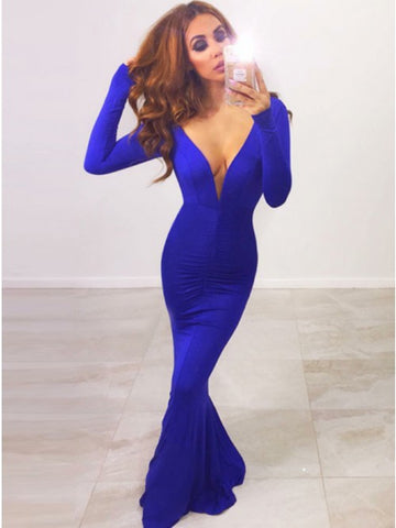 Mermaid Deep V-Neck Long Sleeves Royal Blue Spandex Prom Dress,5691