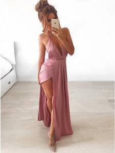 A-Line Spaghetti Straps Pink Stretch Satin Prom Dress with Split,5693