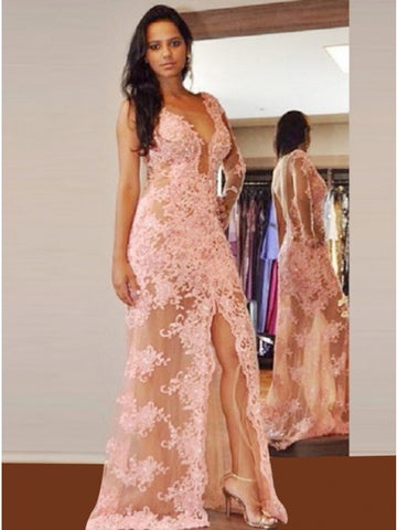 Sheath V-Neck Pink Lace Prom Dress with Appliques Beading,5696