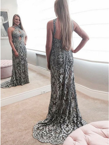 Mermaid Round Neck Grey Lace Prom Dress with Beading Keyhole,5698