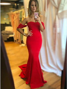 Mermaid Sweetheart Sleeveless Red Stretch Satin Prom Dress,5699