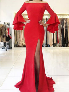 Mermaid Off-the-Shoulder Red Prom Dress with Ruffles Split.5700