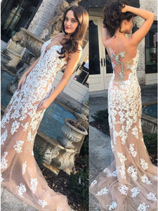 Mermaid Light Champagne Tulle Prom Dress with Appliques Beading.5704