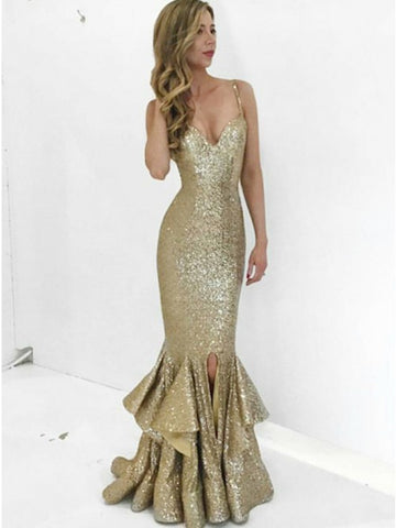 Mermaid Spaghetti Straps Gold Sequined Prom Dress with Ruffles.5705