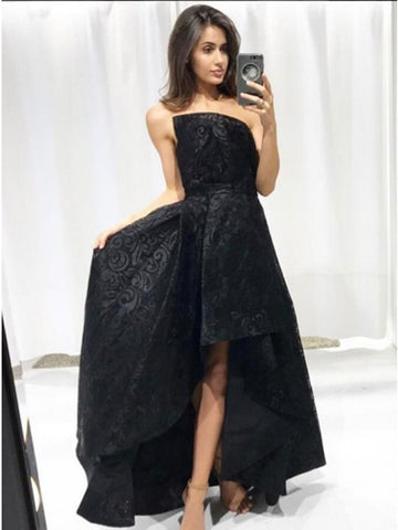 A-Line Strapless Sleeveless High-Low Black Lace Prom Dress.5706