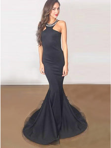 Mermaid Round Neck Black Stretch Satin Prom Dress with Rhinestone,5709